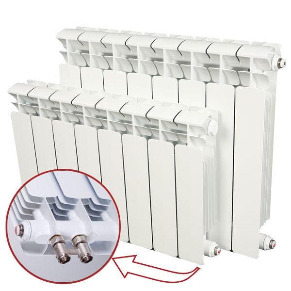 Биметаллический радиатор Rifar Base Ventil 500 12 секций, левое