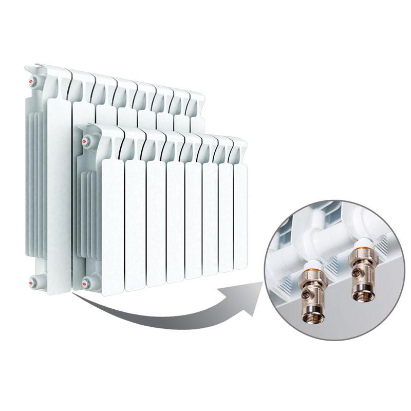 Биметаллический радиатор Rifar Monolit Ventil 500 9 секций, правое