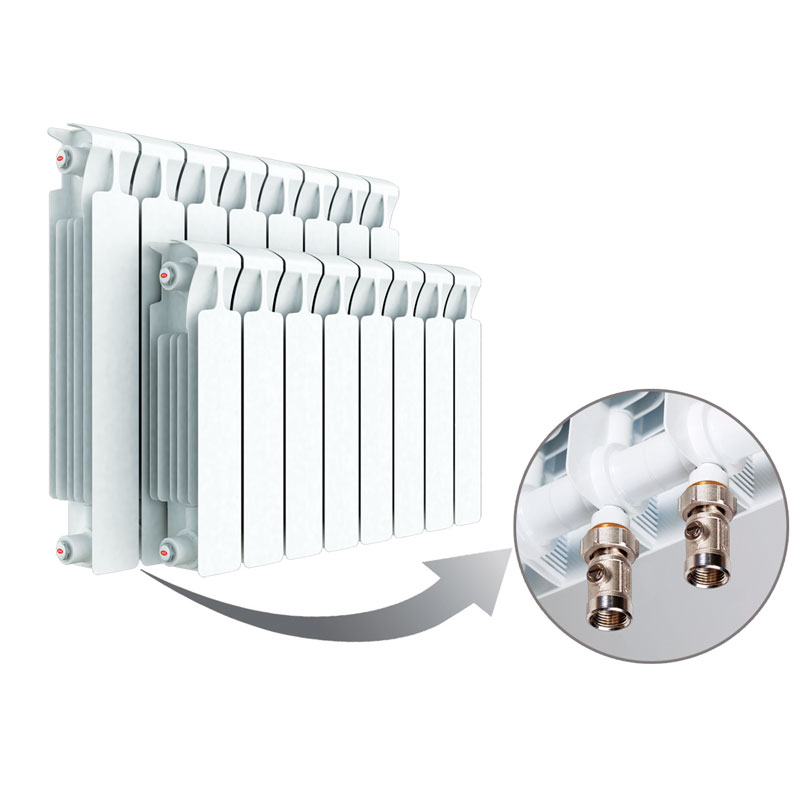 Биметаллический радиатор Rifar Monolit Ventil 500 8 секций, левое