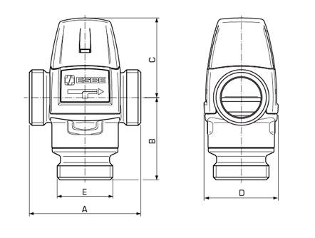 Габаритные размеры термостатических клапанов ESBE серии VTA300