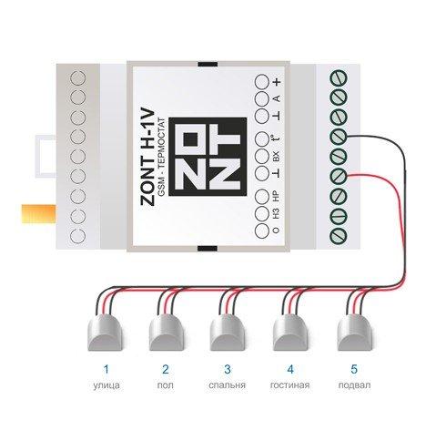 Подключение до 10 датчиков к Zont H-1V